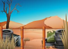 A desert with tires and a barbwire fence Piirros