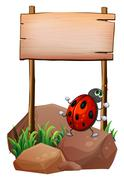 Stock Illustration of A bug below the empty wooden signboard