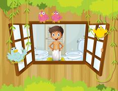 A boy with a towel at the comfort room  watching the birds outside - stock illustration