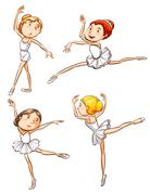 Simple sketches of a girl dancing ballet Stock Illustration