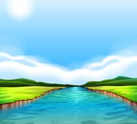 A flowing river - stock illustration
