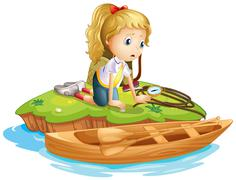 A sad girl trapped in an island Stock Illustration