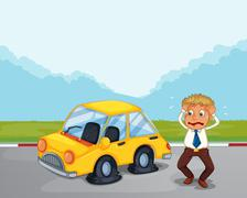 A worried gentleman beside his car with flat tires - stock illustration