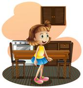 Stock Illustration of A little girl in the kitchen wearing a blue skirt