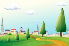 Hills across the neighborhood - stock illustration