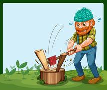 A lumberjack chopping the wood - stock illustration