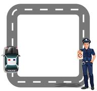 Stock Illustration of A border design with a policeman and a patrol car