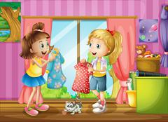 Two girls talking about their dresses - stock illustration