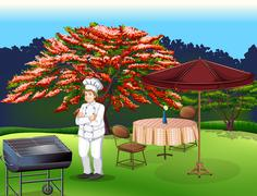 Stock Illustration of A person grilling at the park