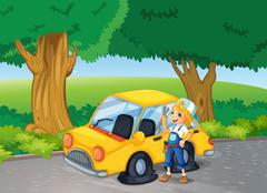 A girl fixing the yellow car near the big trees Stock Illustration