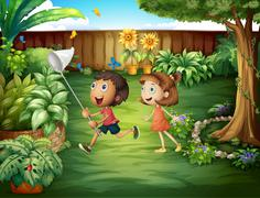 Two friends catching butterflies at the backyard - stock illustration