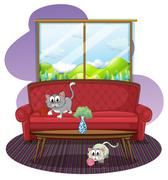 Stock Illustration of Kittens playing inside the house