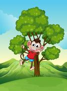Stock Illustration of A playful monkey playing at the tree