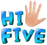 A hi-five artwork with a palm Stock Illustration