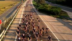 Wide shot of a championship bicycle race - stock footage
