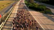 Stock Video Footage of Wide shot of a championship bicycle race