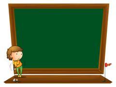 A blackboard with a boy playing golf - stock illustration