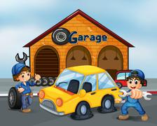 Stock Illustration of Two gentlemen with tools at the garage