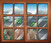 A closed window near the cliff Stock Illustration
