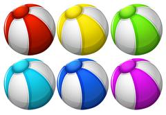 Six colourful balls Stock Illustration