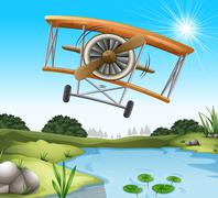A plane above the pond - stock illustration