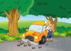 A car crash at the road near the big trees Piirros