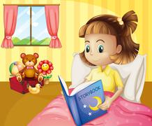 A small girl reading a storybook inside her room Stock Illustration