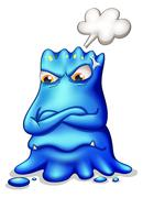 A frustrated blue monster with an empty callout Stock Illustration