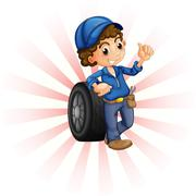 A boy in front of a wheel with a blue cap Stock Illustration