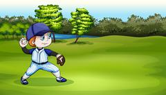 A young baseball player at the field near the river - stock illustration