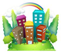 Tall buildings above the hill Stock Illustration