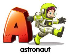 Stock Illustration of A letter A for astronaut