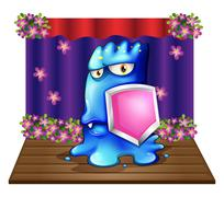 A blue monster at the stage holding a shield - stock illustration