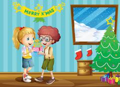 Two adorable kids exchanging their christmas gifts Stock Illustration