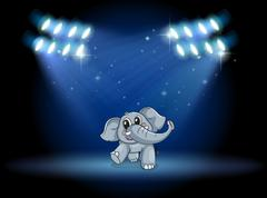An elephant dancing at the stage under the spotlights - stock illustration