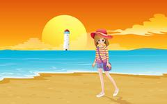 A fashionable young girl at the beach - stock illustration