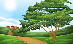 A pathway going to the houses - stock illustration