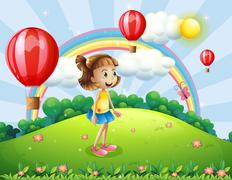 Stock Illustration of A happy girl watching the air balloons
