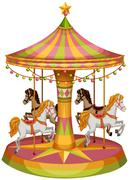 A merry-go-round horse ride - stock illustration