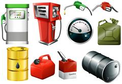 Different fuel cans Stock Illustration