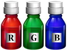 Three bottles of ink Stock Illustration