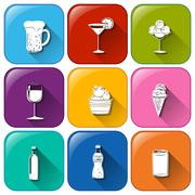 Buttons with refreshing drinks Stock Illustration