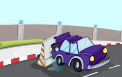 Stock Illustration of A violet car bumping the traffic cone at the road