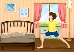 Stock Illustration of A man exercising in his room
