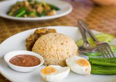 fried rice with pound chili and shrimp paste - stock photo