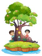 Two boys at the back of the enchanted treehouse - stock illustration