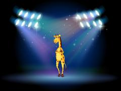 A giraffe standing in the middle of the stage - stock illustration