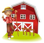 An old man in  the barn Stock Illustration