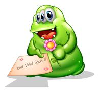 A greenslime monster holding a signage - stock illustration
