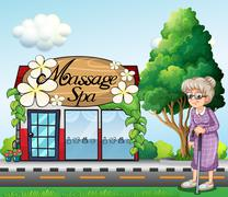 Stock Illustration of An old woman outside the massage spa parlor